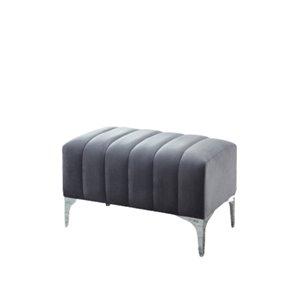 Banc d'accent moderne en velours gris de IH Casa Decor, 31,5po L