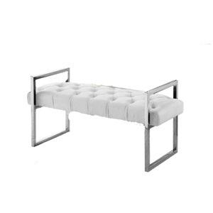 IH Casa Decor Modern Ivory Velvet Accent Bench - 18-in L