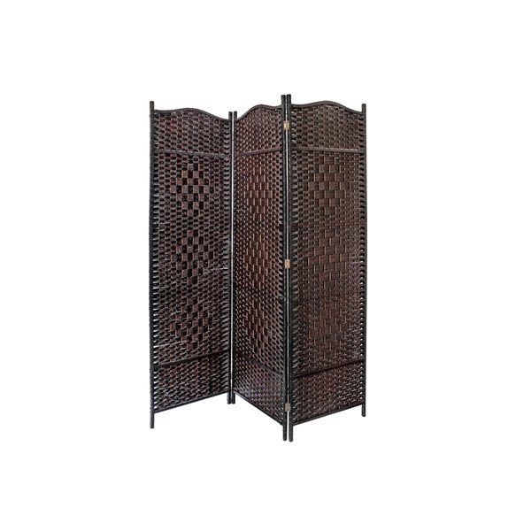 IH Casa Decor39-in W x74-in H Brown Bamboo Victorian Room Divider