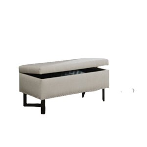 IH Casa Decor Modern Ivory Polyester/Polyester blend Accent Bench- 17.71-in L