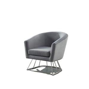 Chaise d'accent moderne en velours de IH Casa Decor, lot de 1, gris
