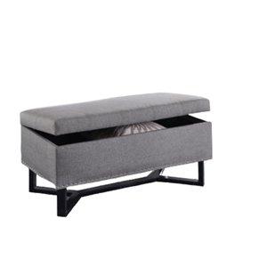 Banc d'accent moderne en polyester gris de IH Casa Decor, 17,71po L
