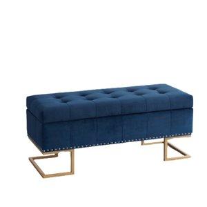Banc d'accent moderne en faux cuir bleu de IH Casa Decor, 41,75po L
