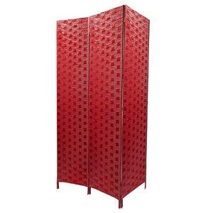 Écran pliable en bambou de IH Casa Decor, 39po l x 74po H, rouge