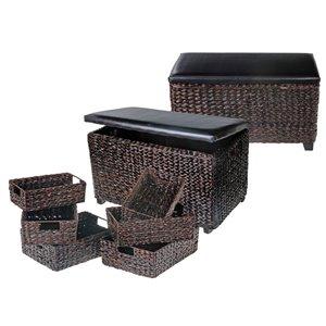 Ottomane rectangulaire moderne en faux cuir brun par IH Casa Decor IH