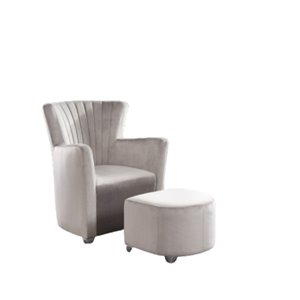 Chaise d'accent moderne en velours gris de IH Casa Decor, lot de 1