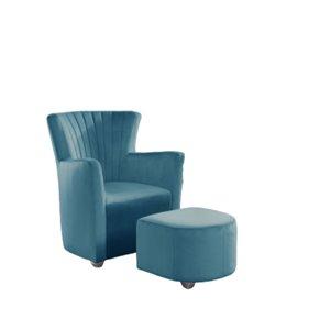 Chaise d'accent moderne en velours sarcelle de IH Casa Decor, lot de 1