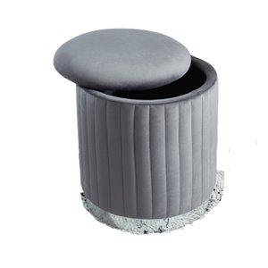 Ottomane ronde moderne en velours gris et rangement de IH Casa Decor