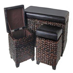 Ottomane rectangulaire moderne en faux cuir marron de IH Casa Decor