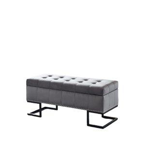 Banc d'accent moderne en faux cuir gris de IH Casa Decor, 41,75po L