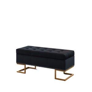Banc d'accent moderne en faux cuir noir de IH Casa Decor, 41,75po L