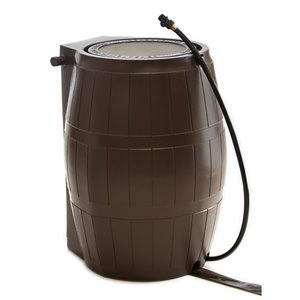 FCMP Outdoor 50-Gal Brown Plastic Rain Barrel with Spigot Included