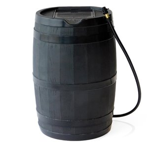 FCMP Outdoor 45-Gal Black Plastic Rain Barrel with Spigot Included