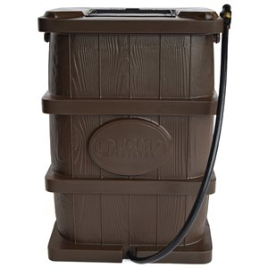 FCMP Outdoor 45-Gal Brown Plastic Rain Barrel with Spigot Included