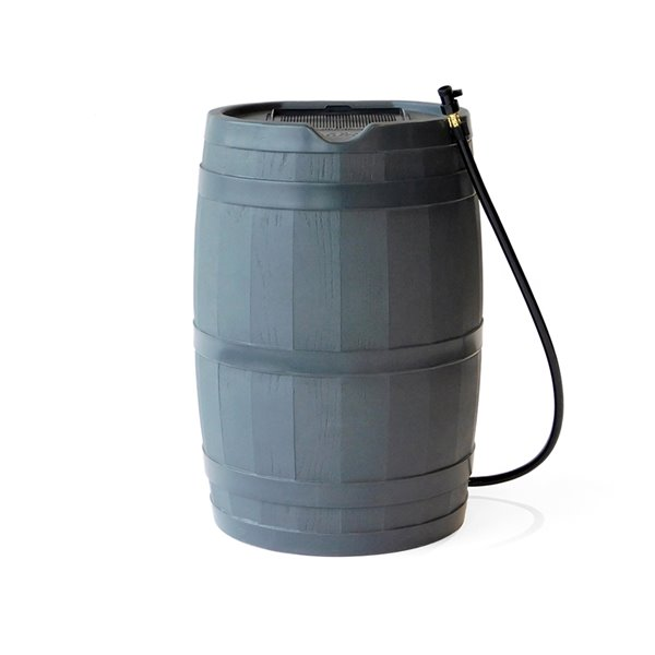 Citerne pluviale en plastique de 45gal. par FCMP Outdoor, robinets inclus, gris