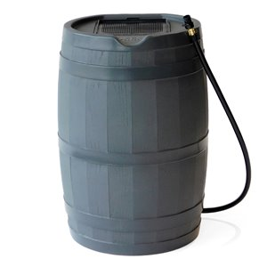 FCMP Outdoor Plastic Rain Barrel with Spigot Included - 45-Gal - Grey