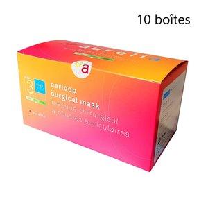 Masque chirurgical jetable à bandes auriculaires 2130 d'Aurelia, ASTM 3, 50 dans 10 boîtes