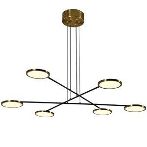 Lustre à DEL intégré Torino de Vonn Lighting au fini laiton antique à 6 lumières, 39 po