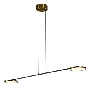 Luminaire suspendu à DEL intégrée Torino de Vonn Lighting au fini laiton antique, 39 po
