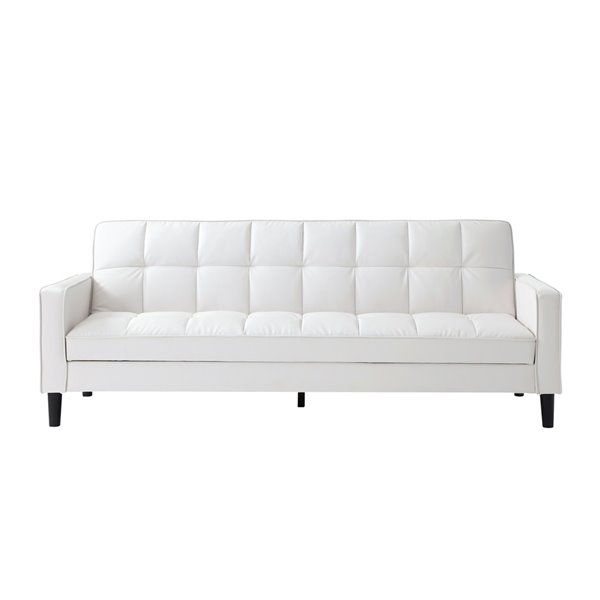 Inspired Home Osburne White Faux, Faux Leather Loveseat Sofa Bed
