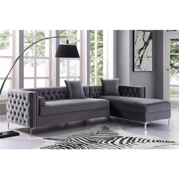 Inspired Home Olivia Modern Grey Velvet Sectional - 3-Seat