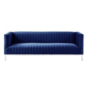 Inspired Home Daniel Modern Navy Velvet Sofa