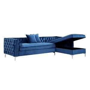 Inspired Home Olivia Modern Navy Velvet 3-Seat Sectional