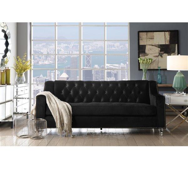 Inspired Home Queenie Modern Black Velvet Sofa