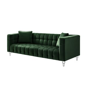 Inspired Home Jeremy Modern Hunter Green Velvet Sofa