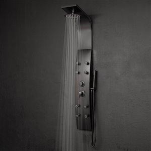 AKDY Black 8-Spray Shower Panel System