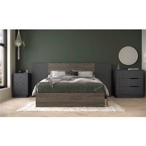 Ensemble de chambre à coucher pour lit à deux places Metric de Nexera, gris écorce/charbon, 5 pièces