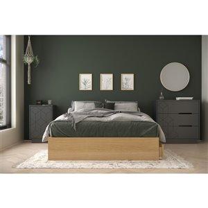 Ensemble de chambre à coucher pour lit à deux places Ballet de Nexera, érable naturel/gris écorce, 3 pièces