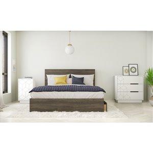 Ensemble de chambre à coucher pour grand lit Volt de Nexera, gris écorce/blanc, 4 pièces