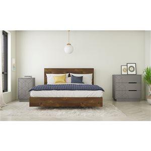 Ensemble de chambre à coucher pour grand lit Indigo de Nexera, truffe/écru, 4 pièces