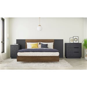 Nexera Vienna Queen-Size Bedroom Set - Walnut/Charcoal and Grey - 5-Piece