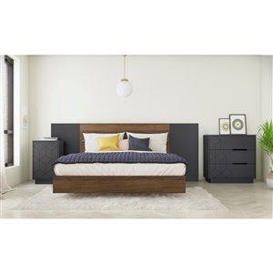 Ensemble de chambre à coucher pour grand lit Vienna de Nexera, noyer/gris charbon, 5 pièces