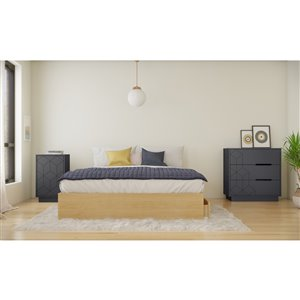 Nexera Ballet Queen-Size Bedroom Set - Natural Maple/Charcoal and Grey - 3-Piece