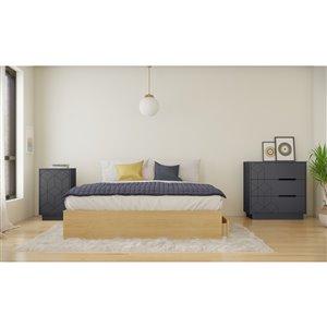 Ensemble de chambre à coucher pour grand lit Ballet de Nexera, érable naturel/gris écorce, 3 pièces