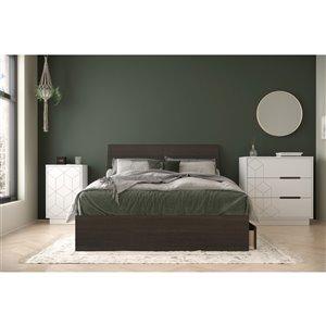 Ensemble de chambre à coucher pour lit à deux places Odyssey de Nexera, ébène/blanc, 4 pièces