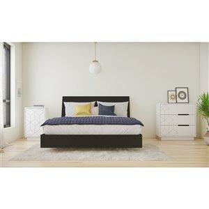 Ensemble de chambre à coucher pour grand lit Campus de Nexera, noir/blanc, 4 pièces