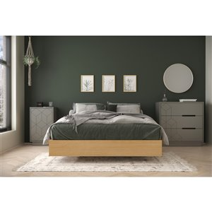 Nexera Bilou Full-Size Bedroom Set - Natural Maple and Greige - 3-Piece