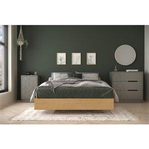 Ensemble de chambre à coucher pour lit à deux places Bilou de Nexera, érable naturel et écru, 3 pièces