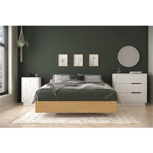 Nexera Baracuda Full-Size Bedroom Set - Natural Maple and White - 3-Piece