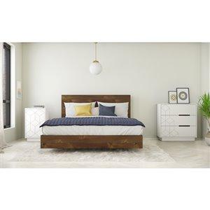 Ensemble de chambre à coucher pour grand lit Impact de Nexera, truffe/blanc, 4 pièces
