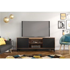 Nexera Hexagon TV Stand for TVs up to 80- in - Nutmeg and Black
