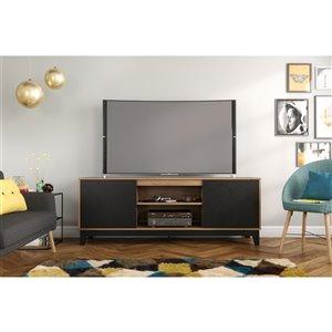 Meuble pour téléviseur jusqu'à 80 po Hexagon de Nexera, muscade et noir