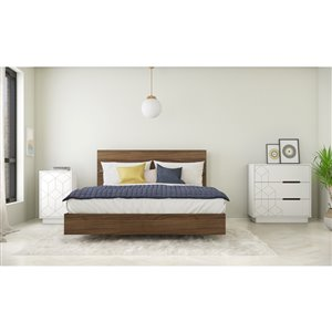 Nexera Subito Queen-Size Bedroom Set - Walnut/White - 4-Piece