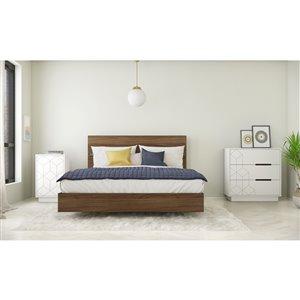 Ensemble de chambre à coucher pour grand lit Subito de Nexera, noyer/blanc, 4 pièces