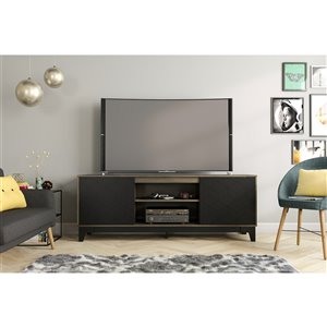 Nexera Hexagon TV Stand for TVs up to 80-in - Bark Grey and Black