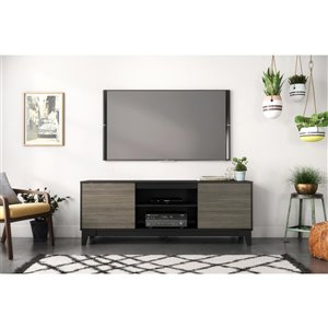 Nexera Rhapsody TV Stand for TVs up to 80-in - Bark Grey and Black